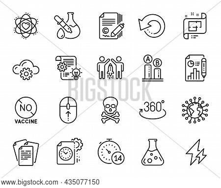 Vector Set Of Swipe Up, Project Deadline And Partnership Line Icons Set. Atom, Electricity And Ab Te