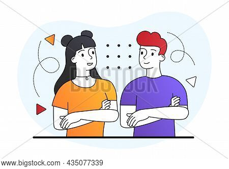 Couple With Folded Arms. Two Insecure People, Shyness. Strangers Chatting, Tense Conversation. Boy A