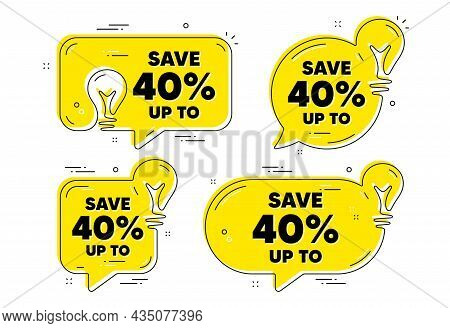 Save Up To 40 Percent. Idea Yellow Chat Bubbles. Discount Sale Offer Price Sign. Special Offer Symbo