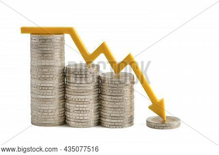 Inflation And The Economic Crisis. Financial Market Crash Isolate On White Background. The Yellow Ar