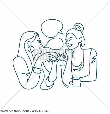 Continuous Line Drawing Of Two Women Drinking Coffee In A Restaurant. Two Happy Girls Chatting, Laug
