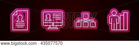 Set Line Resume, Monitor With Resume, Hierarchy Organogram Chart And Productive Human. Glowing Neon