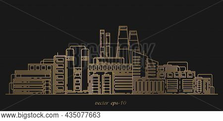 City Factory.industrial City Landscape.industrial Complex With Pipes.modern Thin Line Design Style.