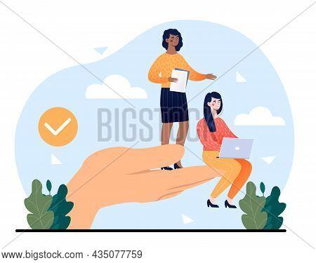 Giant Hands Holding Women. Girlfriends Sit On Big Palm, International Friendship. Employee Care, Awa