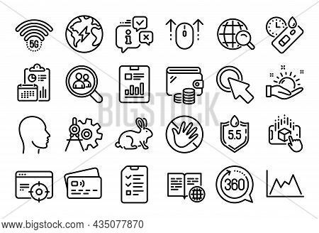 Vector Set Of Swipe Up, Diagram And Internet Book Line Icons Set. Calendar Report, Money Wallet And
