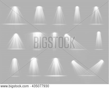Spotlight Projector, Light Effect With White Rays.