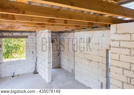 New Construction Of A Residential Building Under Construction. Interior View Of The Construction Of