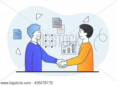Men Shake Hands. Acquaintance, Greeting, Politeness. Businessmen Secured Deal, Contract Was Conclude