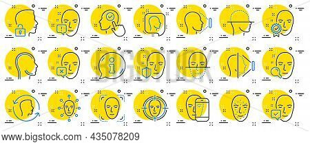 Face Recognition Line Icons. Set Of Facial Biometrics Detection, Scanning And Unlock System Icons. F