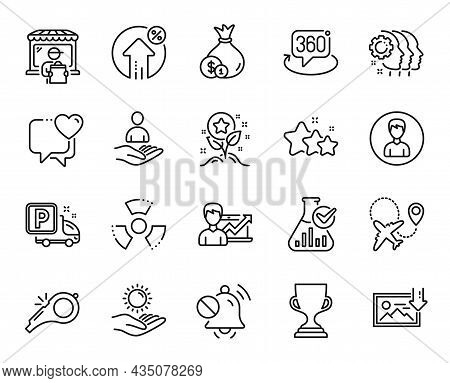 Vector Set Of Truck Parking, Person And Cash Line Icons Set. Loyalty Points, Sun Protection And Airp