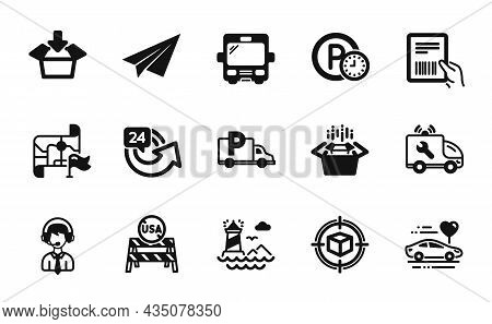Vector Set Of Car Service, Usa Close Borders And 24 Hours Icons Simple Set. Parcel Tracking, Bus And
