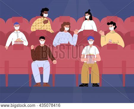 People Watch Movie With Precautions During Virus, Flat Vector Illustration.