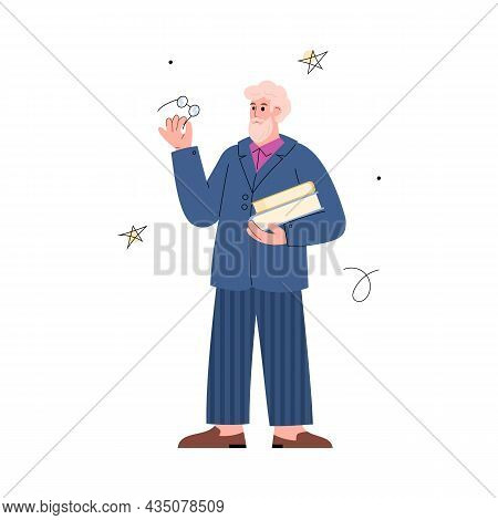 Astronomer Scientist Against Star Map Flat Vector Illustration Isolated.