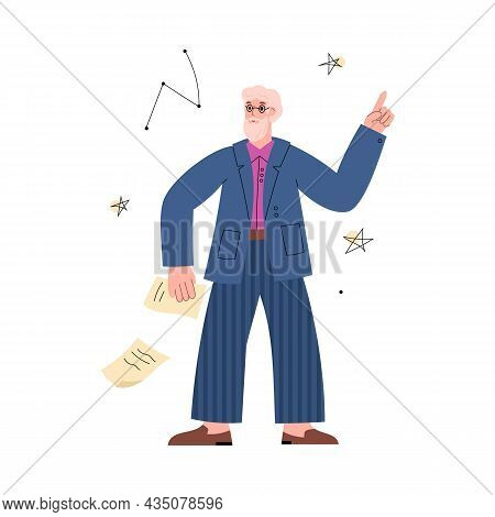 Scientist Astronomy Expert Or Professor Flat Vector Illustration Isolated.