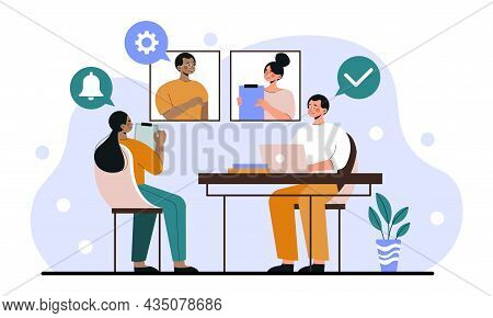 Online Work Conference. Man And Woman Communicate On Video Call, Employees Developing Application. D