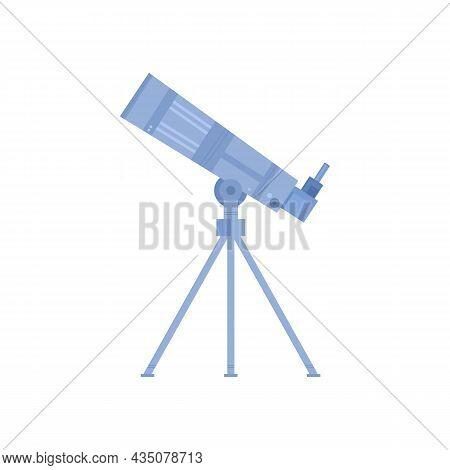 Astronomy Telescope On Tripod Flat Cartoon Vector Illustration Isolated On White.
