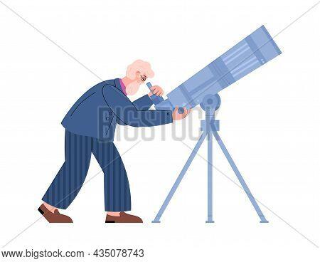 Bearded Astronomer Looking Through Telescope Flat Vector Illustration Isolated.