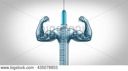 Medical Medication Concept And Vaccine Or Vaccination Cure As A Medicine Syringe Fighting Against Di