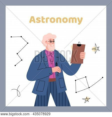 Astronomy Card Or Poster With Astronomer Scientist Flat Vector Illustration.