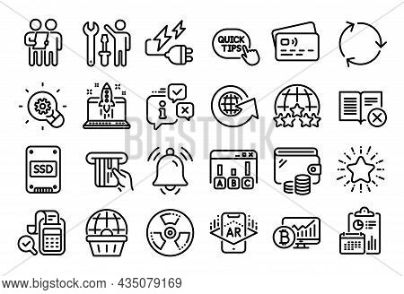Vector Set Of Quick Tips, Star And Survey Line Icons Set. Calendar Report, Money Wallet And Credit C