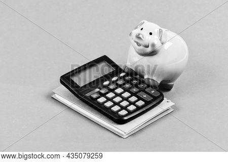 Calculate Profit. Piggy Bank Pink Pig And Calculator. Finance Manager Job Position. Economics And Fi