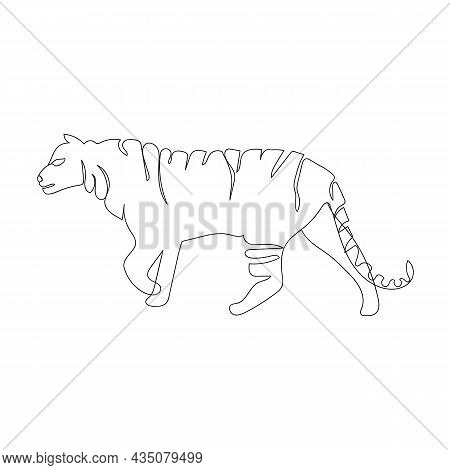 Tiger One Line Drawing Isolated On White Background. Happy New Year 2022 Year Of The Tiger, Moden St