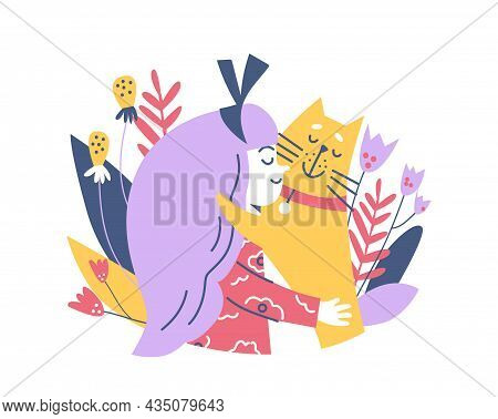 Banner With Cute Child Hugging Her Pet, Flat Vector Illustration Isolated.
