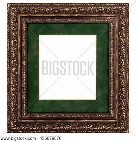 Golden Green Classic Old Vintage Wooden Mockup Canvas Frame Isolated On White Background. Blank And