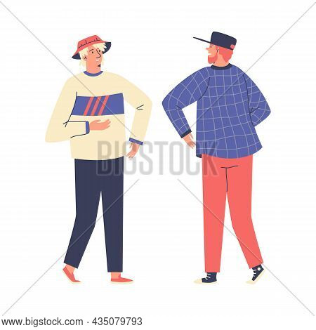 Elbow Bump Of Two White Male Hipsters