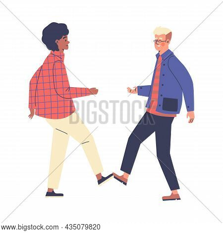 People Greet Each Other Contactlessly And Safely, Vector Illustration Isolated.