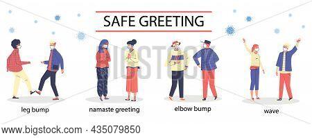 Elbow Bump And Leg Bump, Namaste And Hand Wave - People Safe Greeting During Covid Pandemic