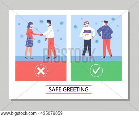 Safe Greeting Cards With People Greeting Contactlessly, Flat Vector Illustration.