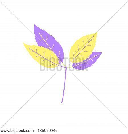 Flat Leaf Branch Icon Silhouette. Filled Leaf Glyph