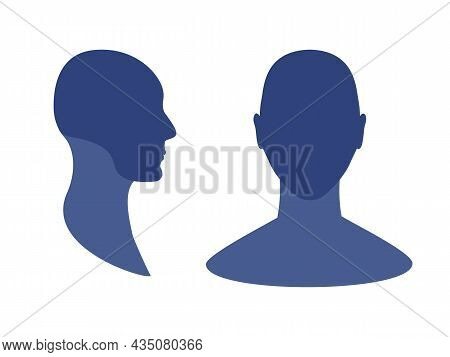 Mans Front And Side View Profile Avatar Silhouette With A Highlighted Skull And Chin Area.