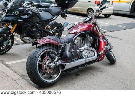 Harley Davidson 1250 V-rod Muscle Standing On The City Streets. Harley-davidson Vrsc Is A Line Of V-