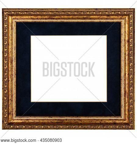 Golden Black Mockup Canvas Frame Isolated On White Background