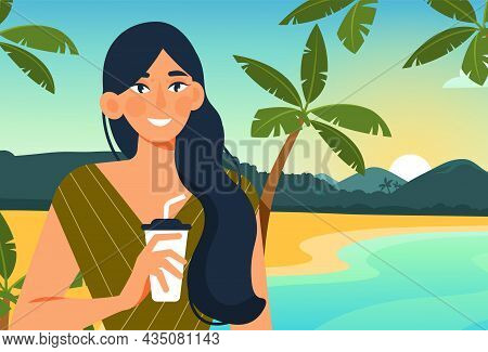 Girl On Beach. Summer Vacation, Hot Countries, Sunset. Nature, Tropical Places, Mountains. Smiling W