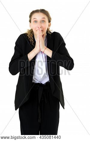 Happy Astonished Student Girl In Formal Black Suit. Portrait Of Attractive Emotional Young Business