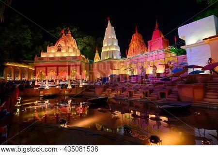 Kolkata, West Bengal, India - October 8th, 2019 : Benaras Ghat Beside River Ganga. Night Image Of De
