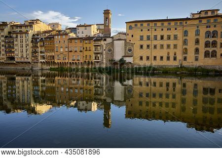 Florence (italy), September 13, 2021. Houses On The Arno River. Florence Is The Capital Of Tuscany,