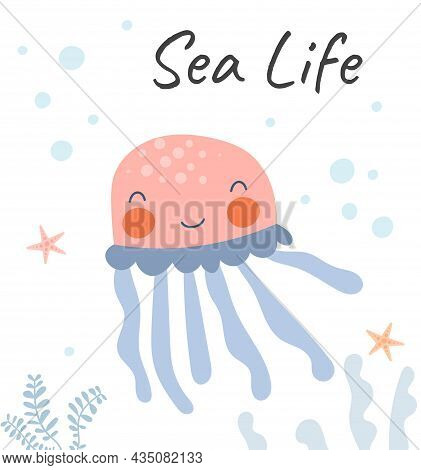 Simple Sea Life. Jellyfish Floats On Seabed. Greeting And Invitation Card Design. Baner And Poster,