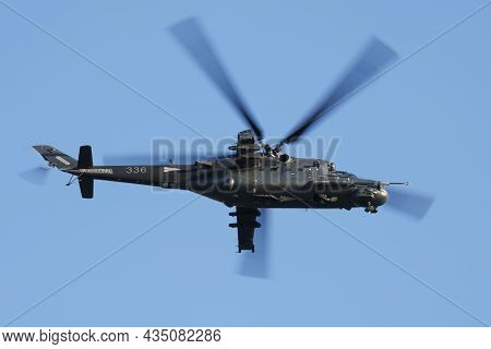 Szolnok, Hungary - August 20, 2019: Military Helicopter At Air Base. Air Force Flight Operation. Avi
