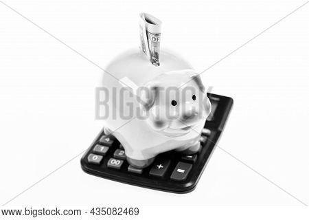 Financial Wellbeing. Savings Account. Piggy Bank Pink Pig Stuffed Dollar Banknote And Calculator. Mo