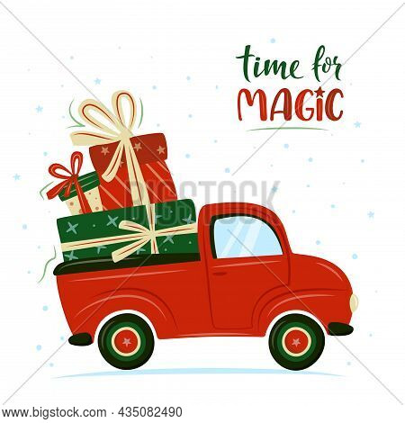 Red Retro Car With Christmas Presents. X-mas Truck With Gift Boxes. Vector Illustration In Cartoon S