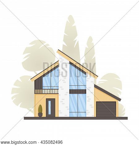 Modern House, Cottage, Townhouse In Minimalistic Style With Panoramic Windows. Real Estate Concept,