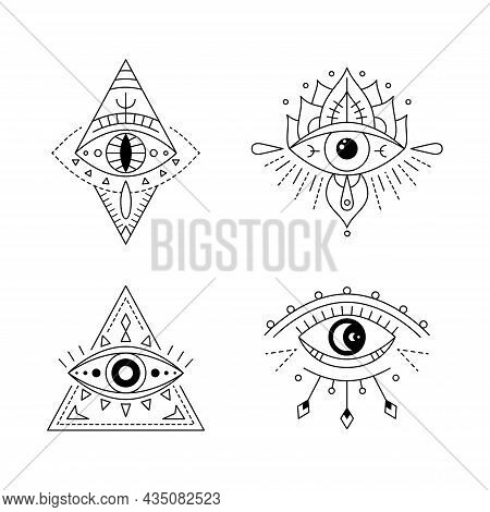 Line Art Mystic Eye Tattoo Set. Providence Sight. Geometric Mystical Evil Symbol, All Seeing Eye