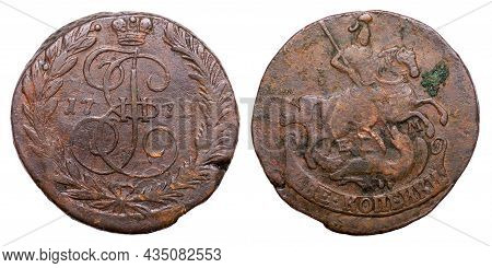 Copper Coin Of The Russian Empire. Two Kopecks In 1772. Catherine Ii