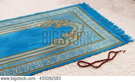 Prayer Rug And Rosary Used For Worship In Islam,