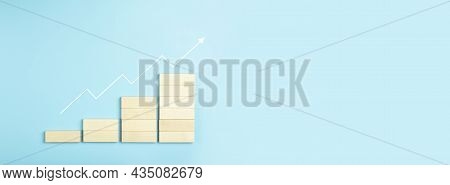 Business Growth, Development Plan Concept And Business Analytics Background. Wooden Steps Of Blocks