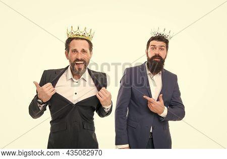 Im Big Boss. Big Boss Men Isolated On White. Bearded Men Wear Crowns. Businessmen Or Directors. Big